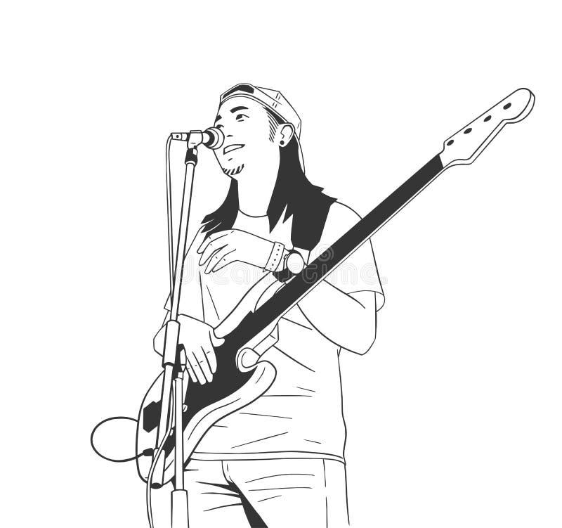 Ilustração do homem novo que joga a guitarra viva na fase ilustração stock