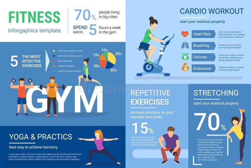 Ilustração do infographics da aptidão dos povos que fazem o exercício com gráfico e diagrama ilustração stock
