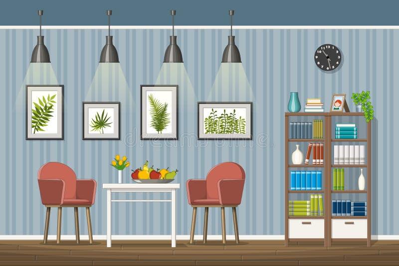 Ilustração do interior de uma sala de visitas clássica ilustração stock