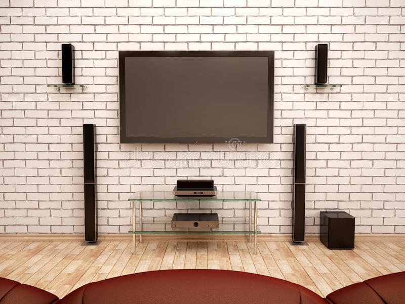 ilustração do interior do cinema em casa ilustração royalty free