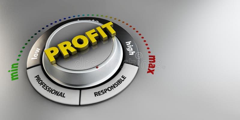 Ilustração do interruptor do botão do botão do lucro Conceito alto do nível de confiança Projeto técnico, gestão moderna ilustração stock