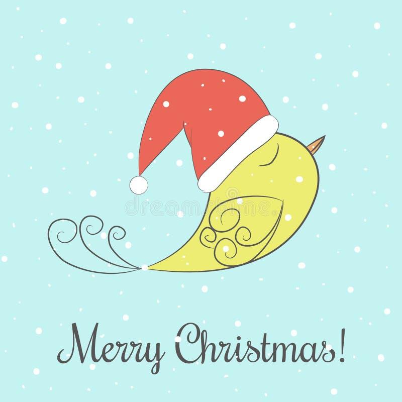Ilustração do inverno e do vetor do Natal com frase do Feliz Natal e voo fabuloso amarelo do pássaro na neve ilustração do vetor