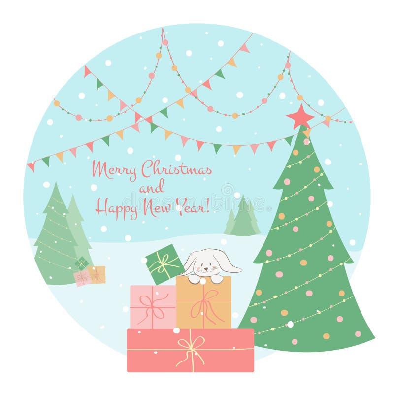 Ilustração do inverno e do vetor do Natal com os phras do Feliz Natal e do ano novo feliz ilustração do vetor