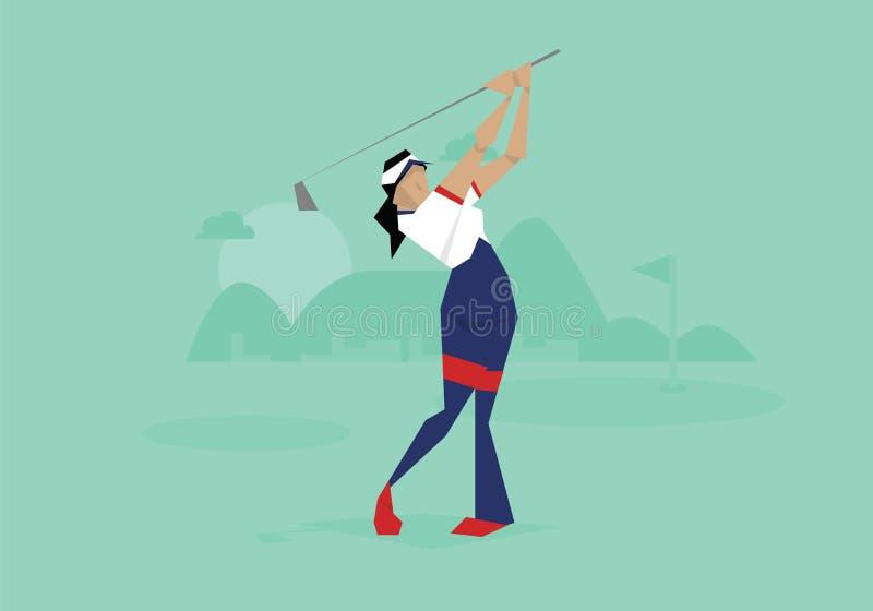 Ilustração do jogador de golfe fêmea que compete no evento ilustração royalty free