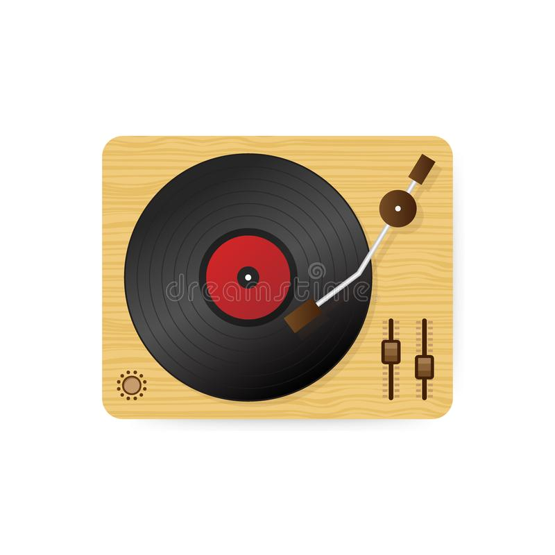 Ilustração do jogador de registro do vinil, plataforma giratória retro do vintage dos desenhos animados lisos que joga a melodia  ilustração stock
