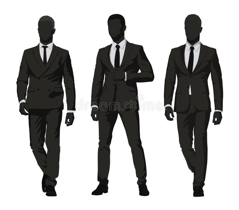Ilustração do JPG + do vetor Três homens em ternos escuros ilustração do vetor