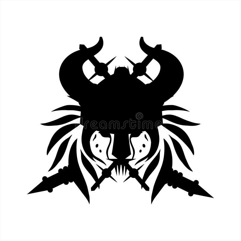 Ilustração do leão tribal de viquingue da tatuagem e logotipo principais do vetor ilustração do vetor