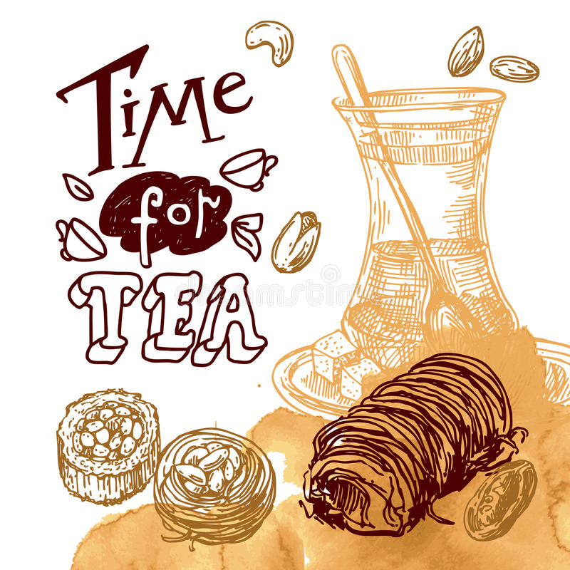 Ilustração do leste do chá ilustração stock