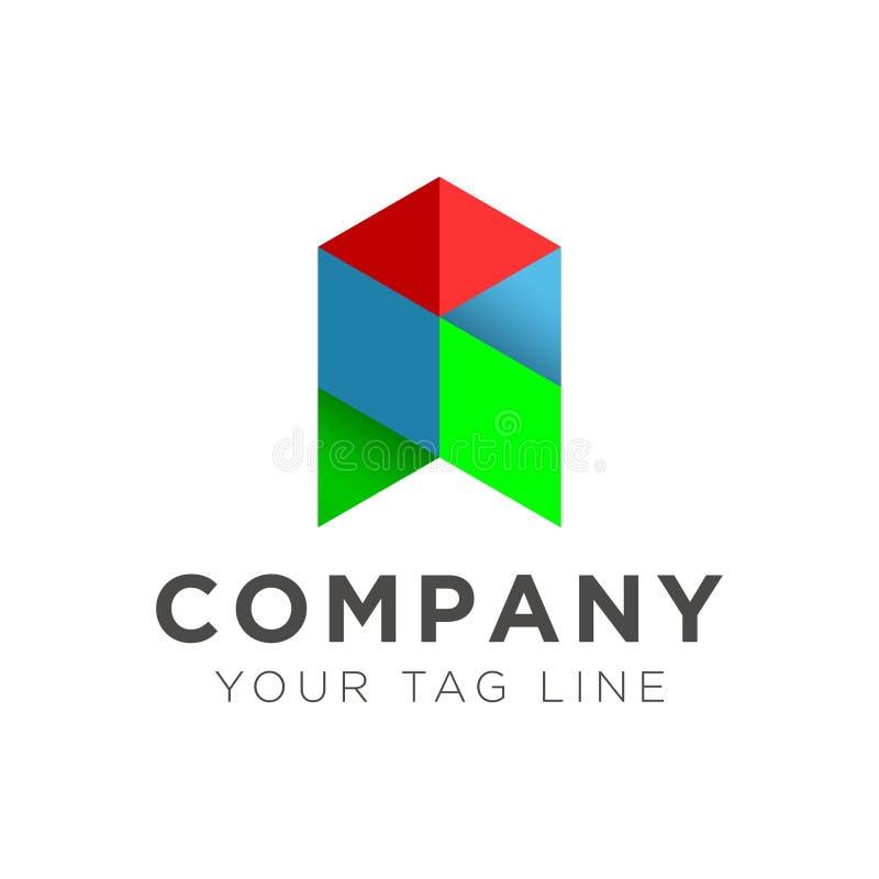 Ilustração do logotipo da seta no vermelho azul e verde ilustração stock