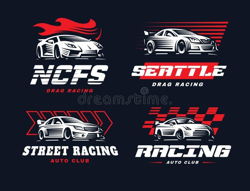 Ilustração do logotipo do carro desportivo no fundo escuro ilustração royalty free