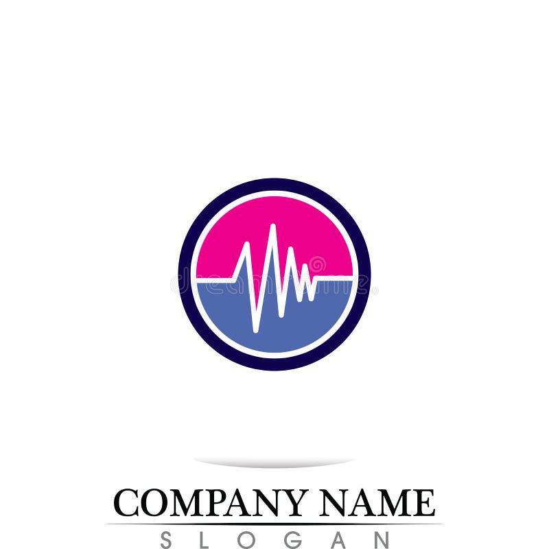 ilustração do logotipo do molde do ícone do vetor do ícone da onda sadia ilustração royalty free