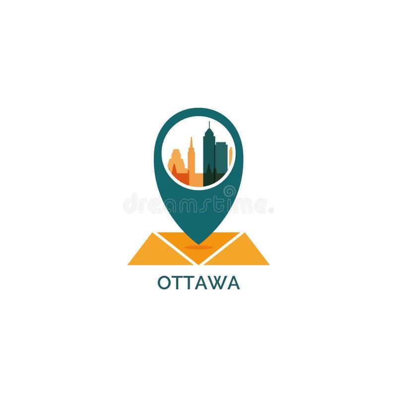 Ilustração do logotipo do vetor da silhueta da skyline da cidade de Ottawa ilustração stock