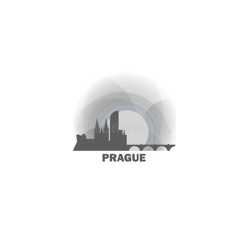 Ilustração do logotipo do vetor da silhueta da skyline da cidade de Praga ilustração royalty free