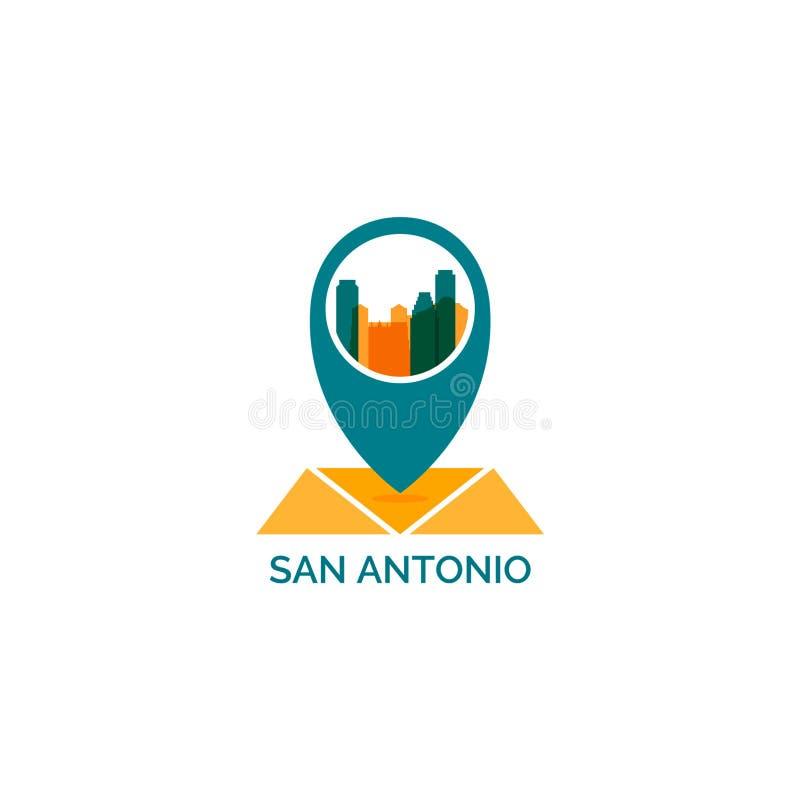Ilustração do logotipo do vetor da silhueta da skyline da cidade de San Antonio ilustração do vetor