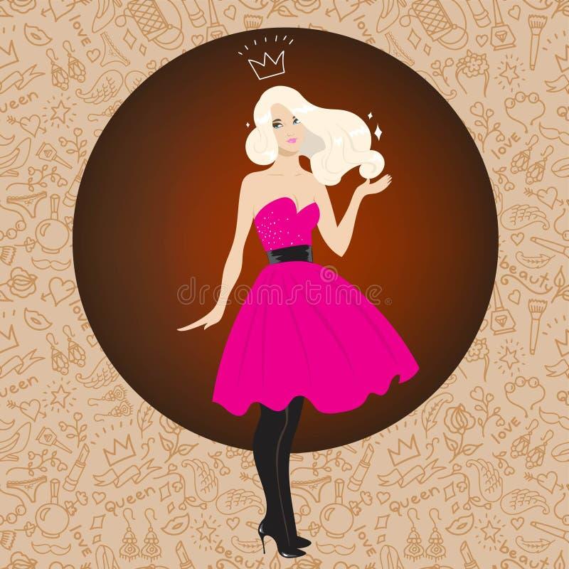 Ilustração do louro bonito no vestido cor-de-rosa luxúria imagens de stock royalty free