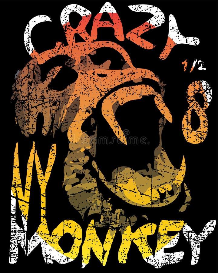 Ilustração do macaco, tipografia, gráfico do t-shirt ilustração do vetor