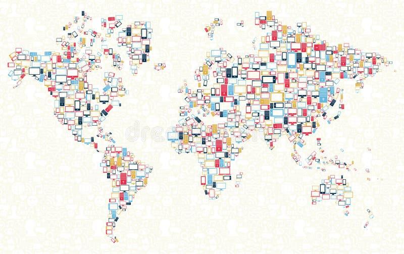 Ilustração do mapa de mundo dos ícones dos dispositivos ilustração stock