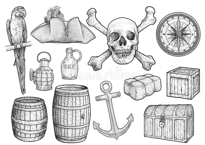 Ilustração do material da pirataria, desenho, gravura, tinta, linha arte, vetor ilustração stock