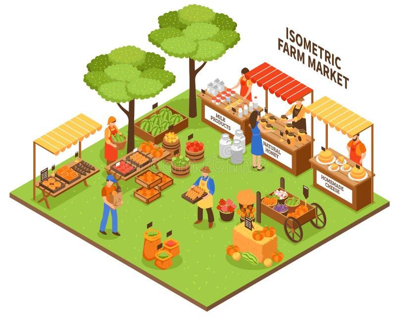 Ilustração do mercado de feira de comércio ilustração do vetor
