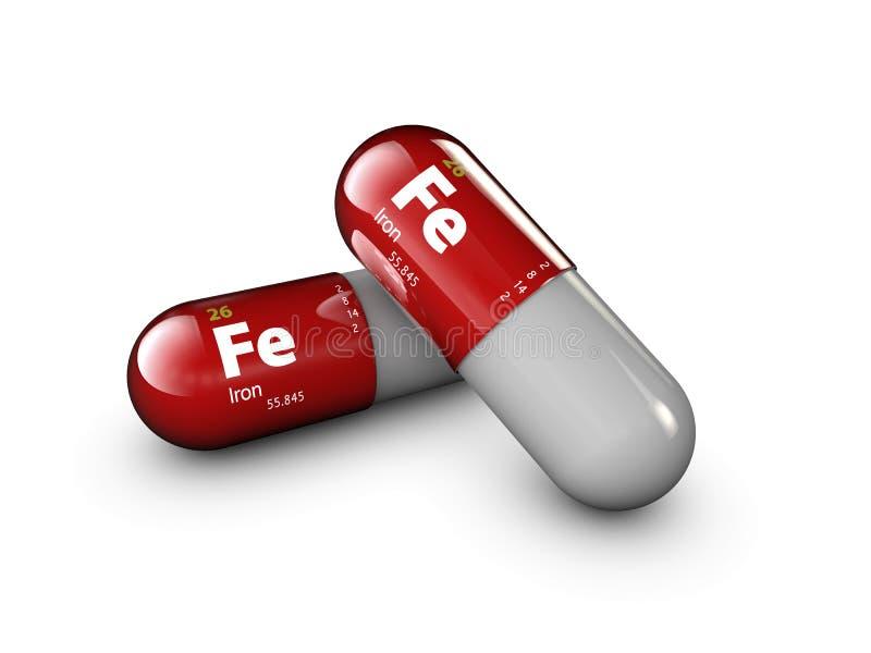 Ilustração do mineral do ferro Cápsula do comprimido da gota e complexo lustrosos da vitamina Suplemento dietético médico à vida  imagem de stock