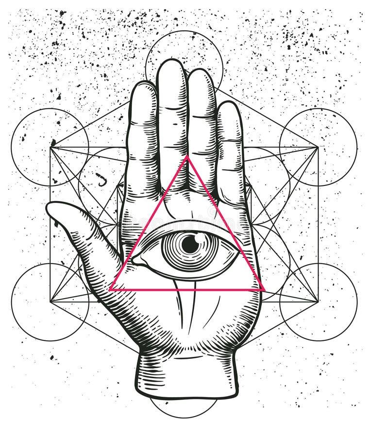 Ilustração do moderno com geometria sagrado, mão, e toda a pirâmide de vista do triângulo do nside do símbolo do olho Olho de Pro ilustração royalty free
