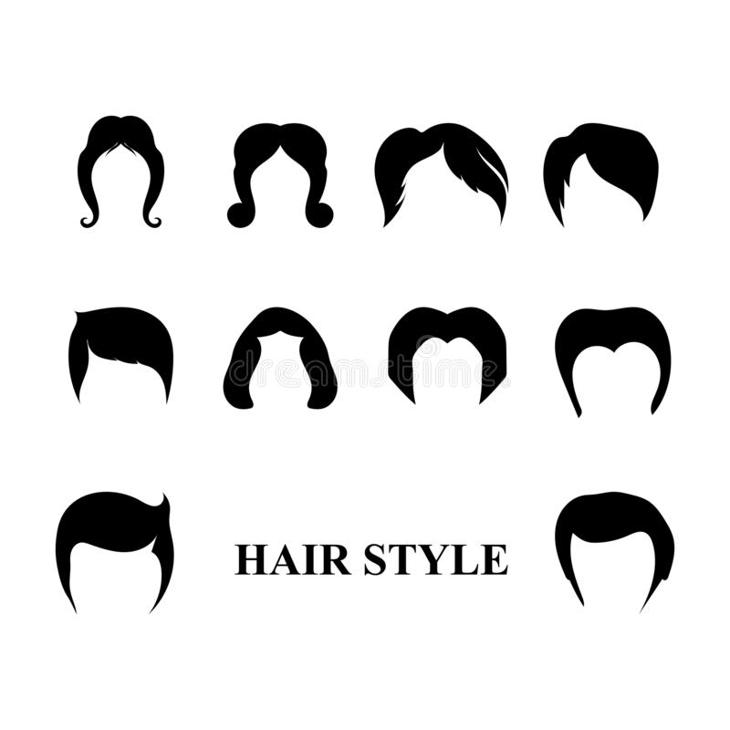 Ilustração do molde do ícone do vetor do logotipo da onda do cabelo ilustração royalty free