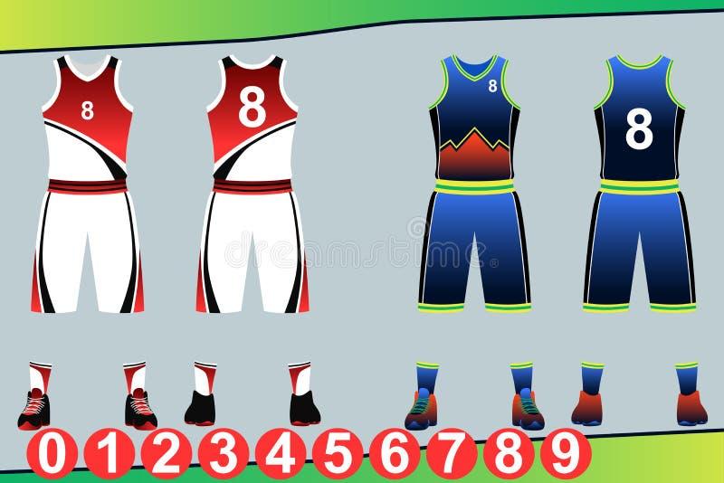 Ilustração do molde do jérsei do basquetebol ilustração do vetor