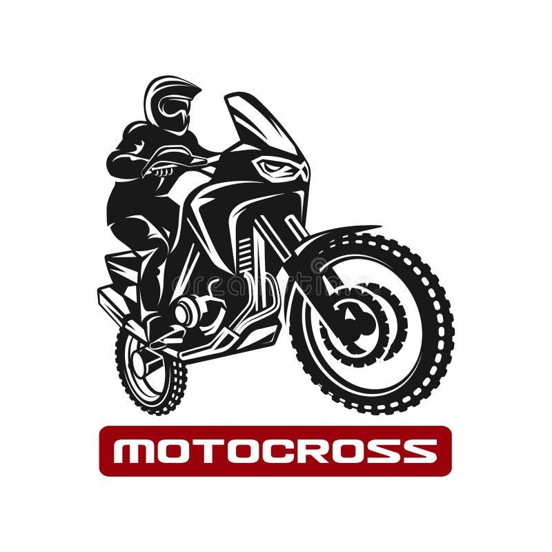 Ilustração do monochrome do logotipo do motorista do velomotor do enduro da raça do motocross ilustração stock