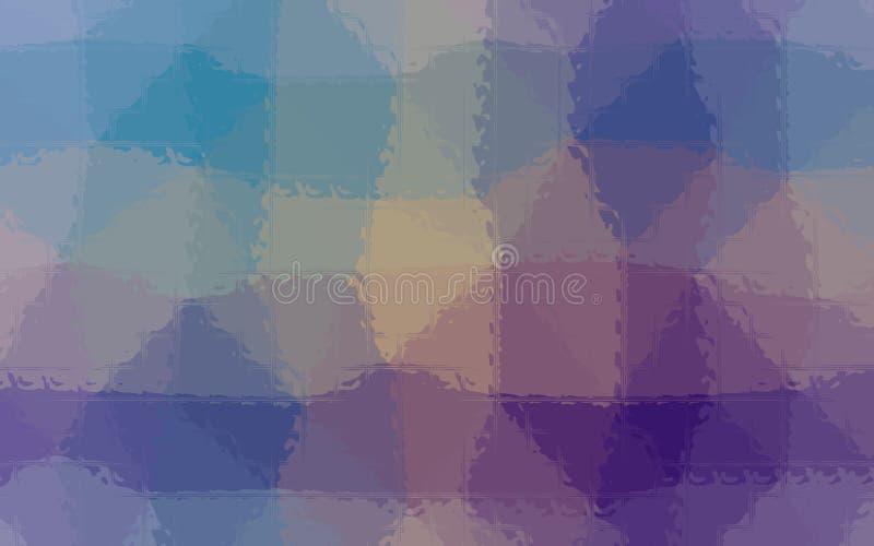 Ilustração do mosaico roxo, verde, amarelo e azul através do fundo dos tijolos de vidro ilustração do vetor