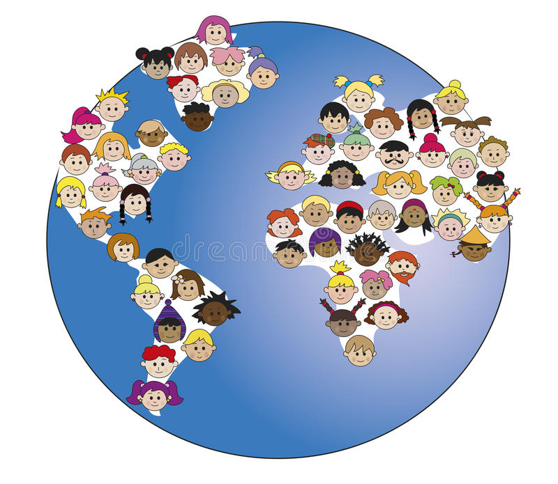 Crianças no mundo ilustração royalty free