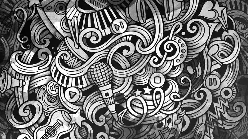 Ilustração do Musical das garatujas Fundo creativo da música gráfico ilustração do vetor