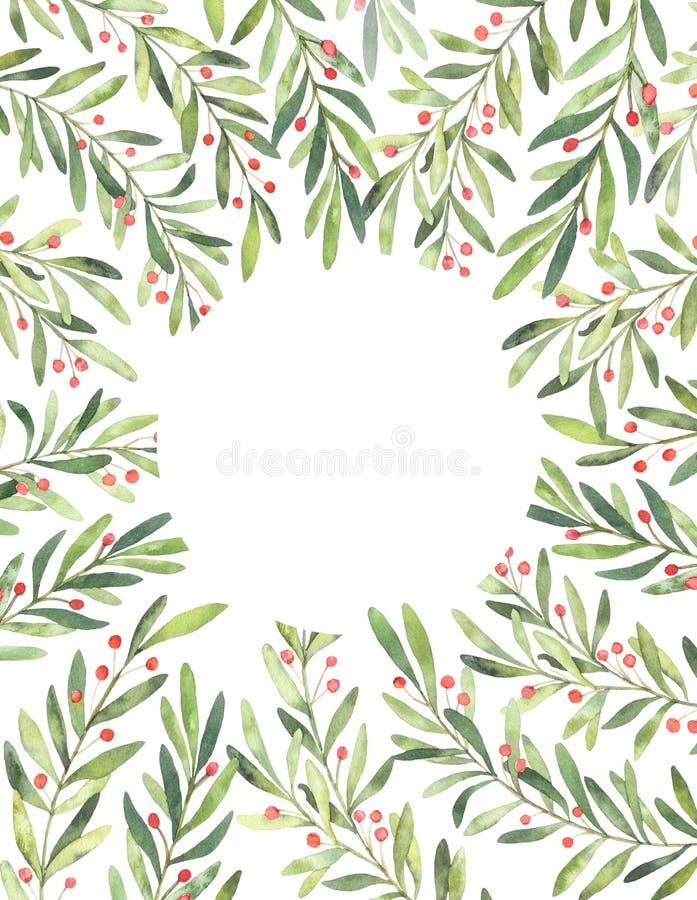 Ilustração do Natal Cartão vertical pronto para uso com watercol ilustração royalty free