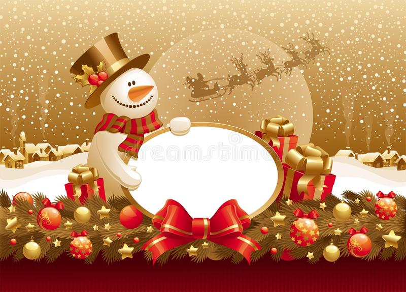 Ilustração do Natal com boneco de neve, presente & frame ilustração do vetor