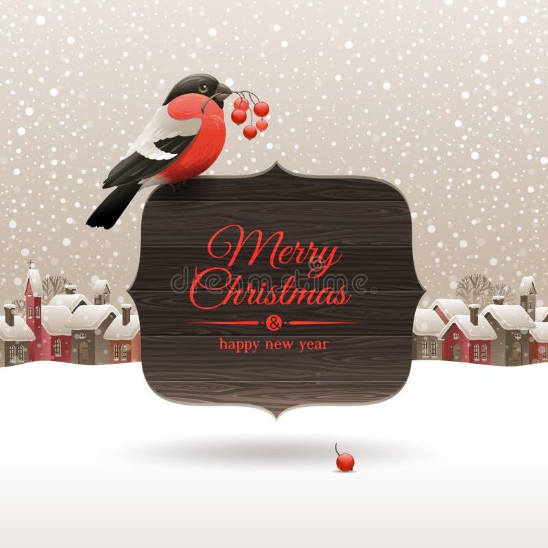 Ilustração do Natal com bullfinch ilustração royalty free