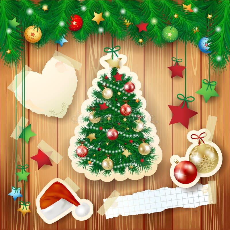 Ilustração do Natal com elementos da árvore e do papel ilustração stock