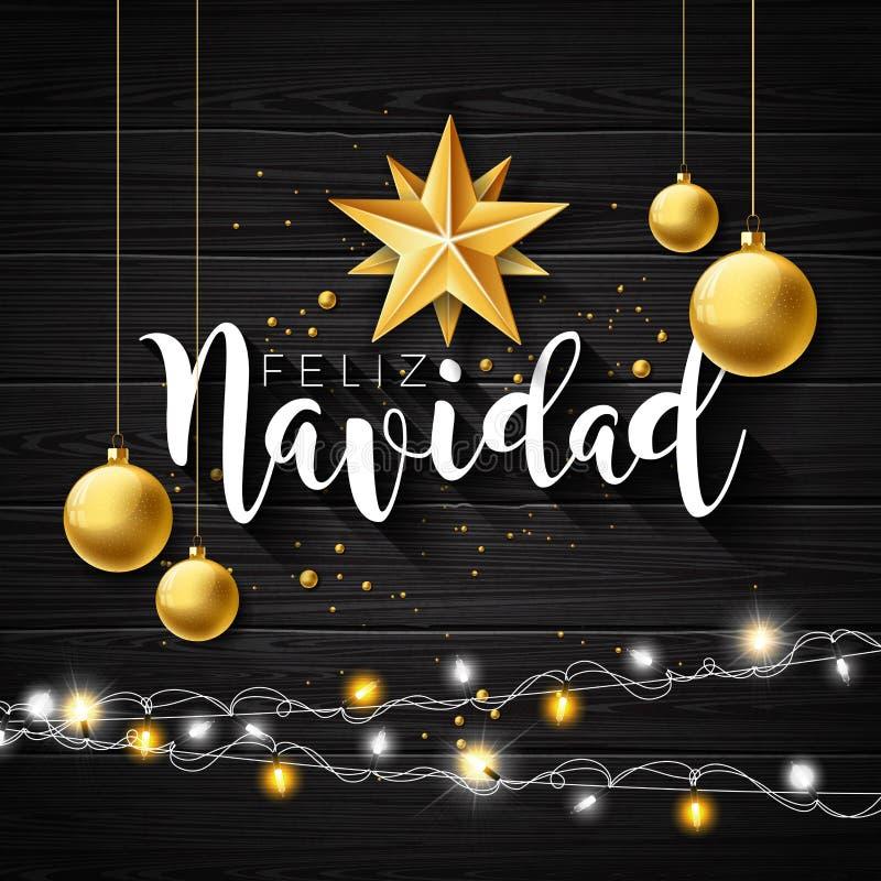 A ilustração do Natal com espanhol Feliz Navidad Typography e o entalhe do ouro forram a estrela, bola de vidro no vintage preto ilustração do vetor