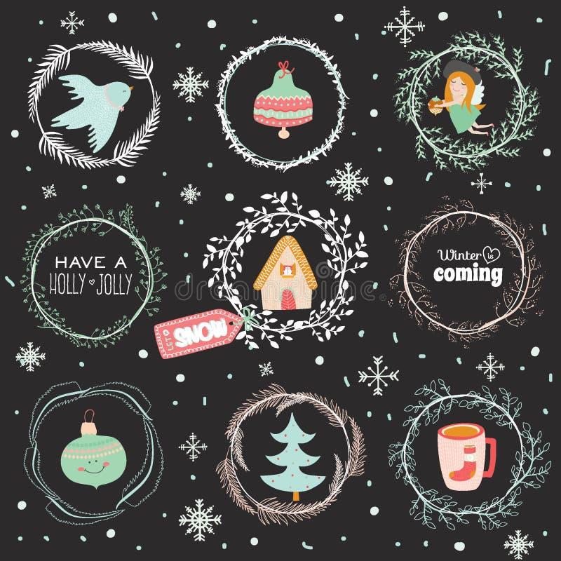 Ilustração do Natal com fundo tipográfico ilustração do vetor