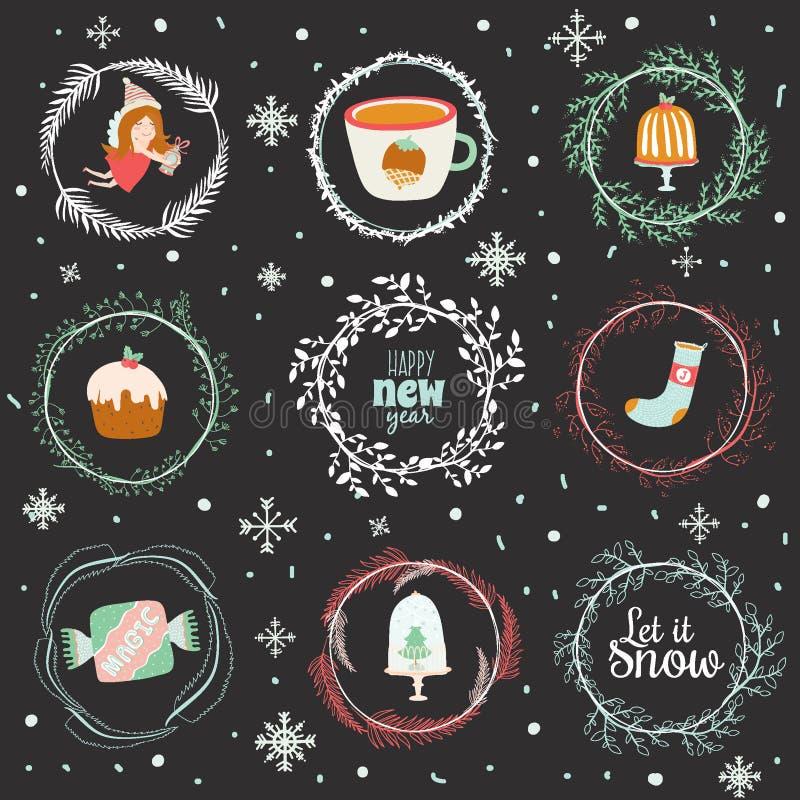 Ilustração do Natal com fundo tipográfico ilustração stock