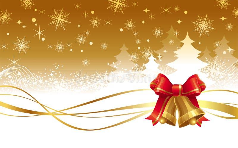 Ilustração do Natal com os sinos de mão dourados ilustração royalty free