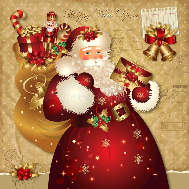 Ilustração do Natal com Papai Noel ilustração do vetor