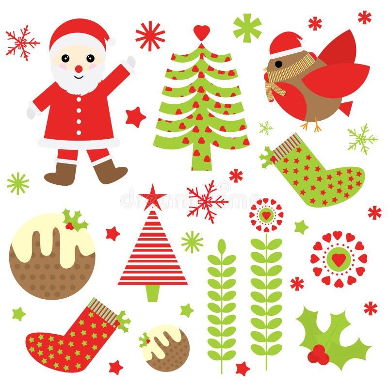 Ilustração do Natal com Santa Claus bonito, o pássaro, e os ornamento do Xmas apropriados para o grupo e o clipart da etiqueta do ilustração stock
