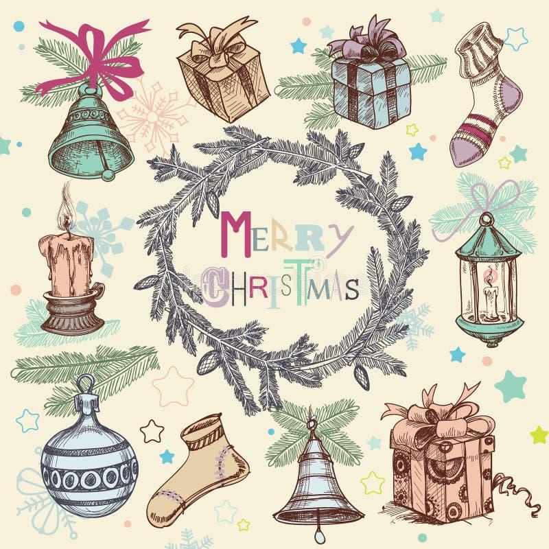 Ilustração do Natal do vintage ilustração do vetor