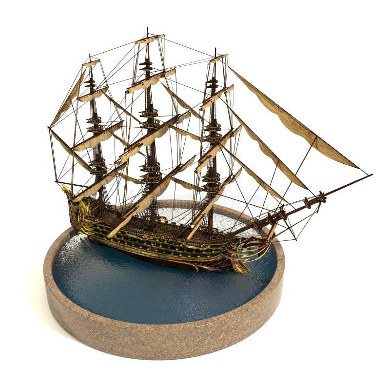 Ilustração do navio de pirata 3d foto de stock