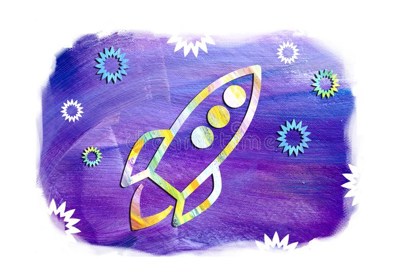 Ilustração do navio do foguete no espaço na perspectiva das estrelas Voo bonito da nave espacial entre as estrelas Dia do UFO ilustração do vetor