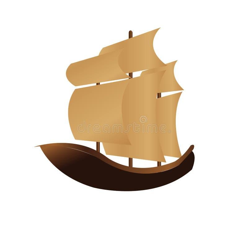 Ilustração do navio do vintage para o Dia de Colombo ilustração stock