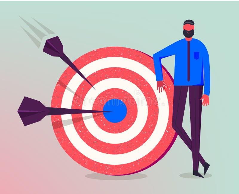 Ilustração do negócio do vetor, caráter estilizado Fazendo objetivos, estratégia empresarial bem sucedida, conceito de mercado ilustração royalty free