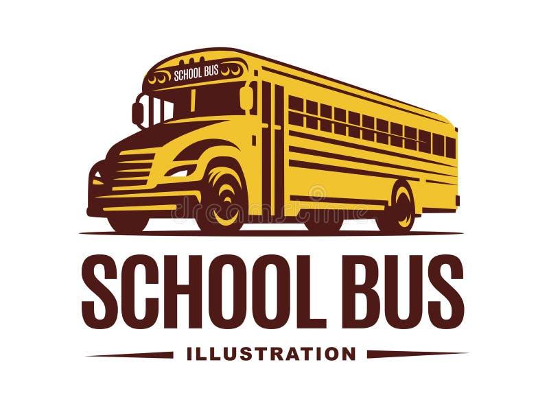 Ilustração do ônibus escolar no fundo claro, emblema ilustração stock