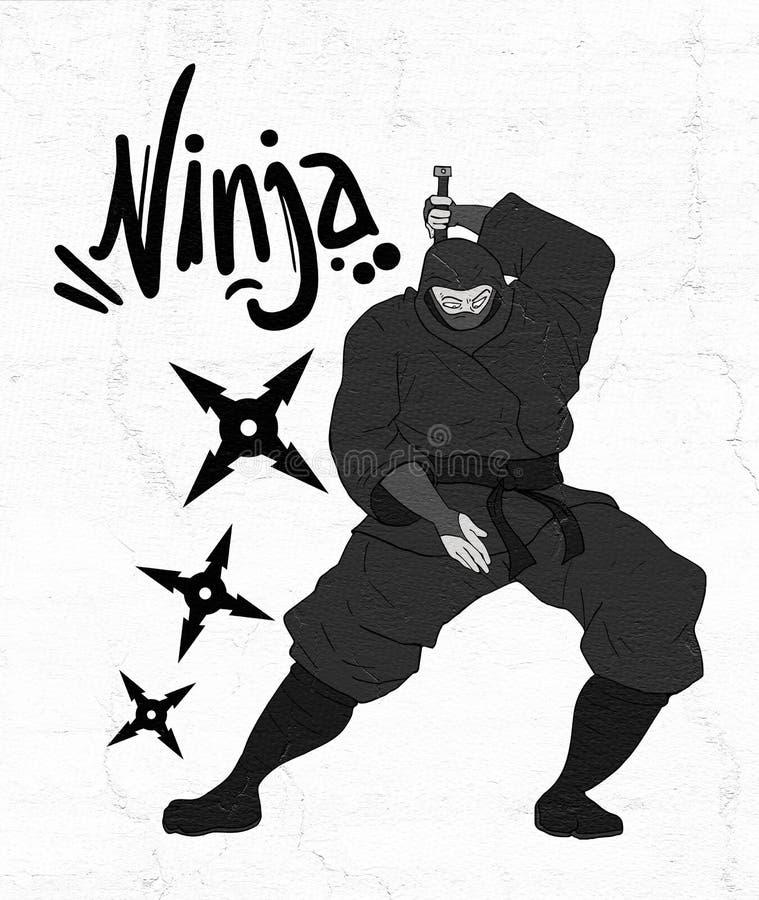 Ilustração do ninja do perigo ilustração do vetor