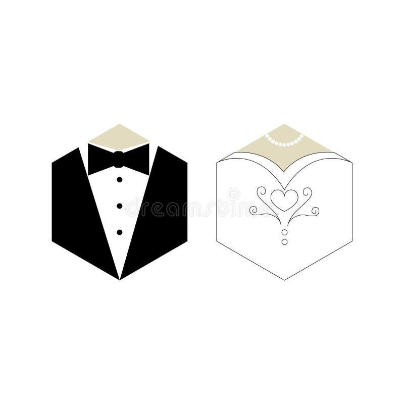 Ilustração do noivo e da noiva ilustração royalty free