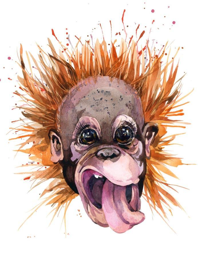 Ilustração do orangotango da aquarela Macaco bonito projeto do t-shirt da forma ilustração royalty free